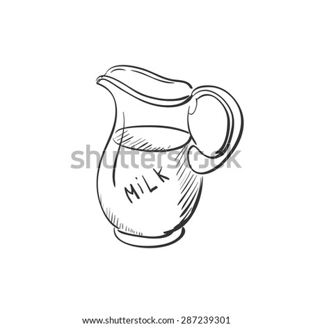 doodle jug of milk, excellent vector illustration, EPS 10 - stock vector