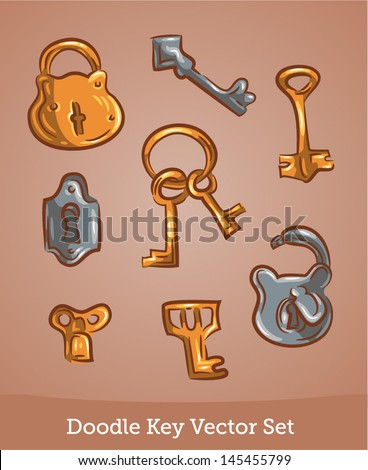 Doodle keys - stock vector