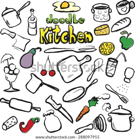 doodle kitchen, food icons, vector illustration - stock vector