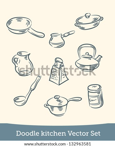doodle kitchen set - stock vector