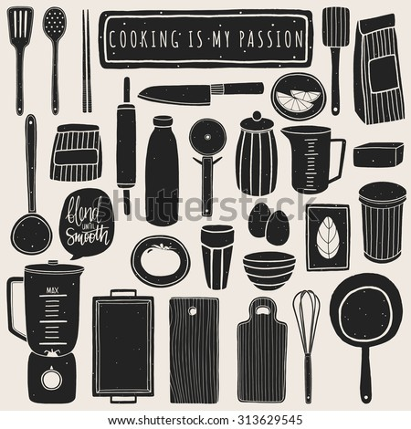 Doodle kitchen set. Hand drawn kitchenware and utensils. Vector elements for kitchen design. Cooking equipment - stock vector