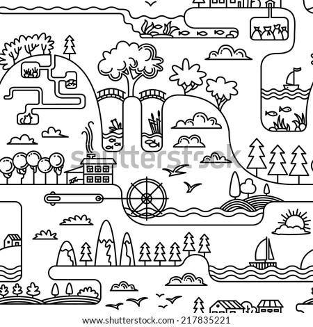 Doodle landscape simplicity seamless pattern - stock vector