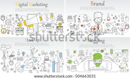 Doodle line design of web banner templates with outline icons of blogging, digital marketing, start up and branding.Vector illustration concept for website or infographics.