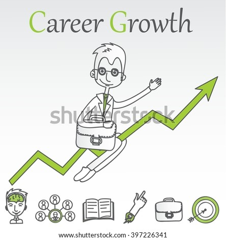 Doodle line design of web banner templates with outline icons of career growth. Vector illustration concept for website or infographics.  - stock vector