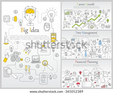 Doodle line design of web banner templates with outline icons of time management, career growth,big idea, finance planning, creative thinking.Vector illustration concept for website or infographics.   - stock vector