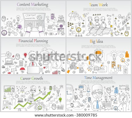 Doodle line design of web banner templates with outline icons of time management, career growth,big idea, finance planning, team work.Vector illustration concept for website or infographics.  - stock vector