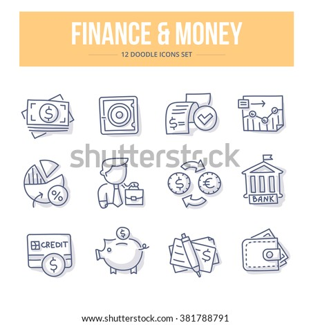 Doodle line icons of banking, investing, financial services, money saving. Vector illustration concepts - stock vector