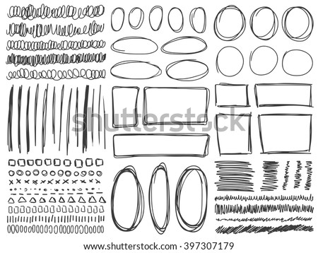 Doodle lines and curves vector. Set of simple doodle lines, curves, frames and spots. Pencil effect collection. Doodle borders. Set of simple doodles. Pencil effect sketch isolated on white. - stock vector