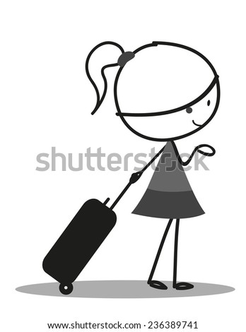 Doodle little girl carrying a bag for Traveling - stock vector