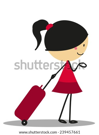 Doodle little girl carrying a bag for Traveling - Full Color - stock vector