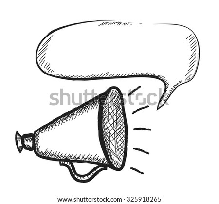 doodle loudspeaker, vector illustration - stock vector