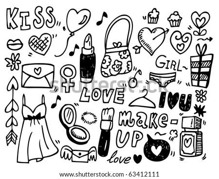 doodle love - stock vector