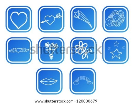 Doodle love, icon set - stock vector