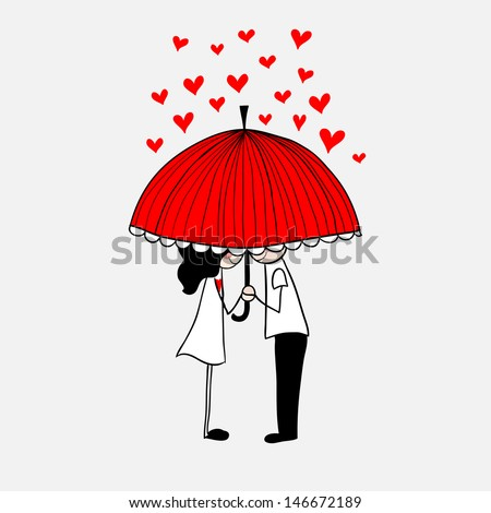 Doodle lovers: a boy and a girl under umbrella. - stock vector