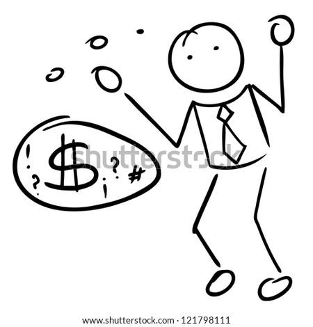 Doodle man bubble speech - stock vector