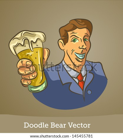 Doodle man with a beer - stock vector