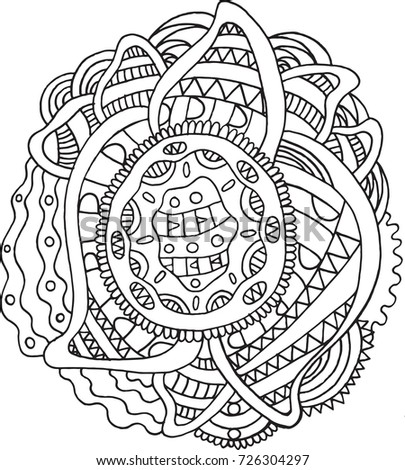 doodle mandala coloring page for adults meditative boho cartoon drawing