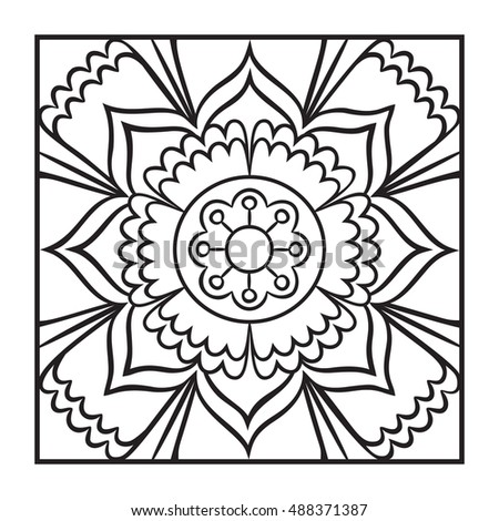 Doodle Mandala Coloring Page Outline Floral Design Element Book Pattern Decorative Round