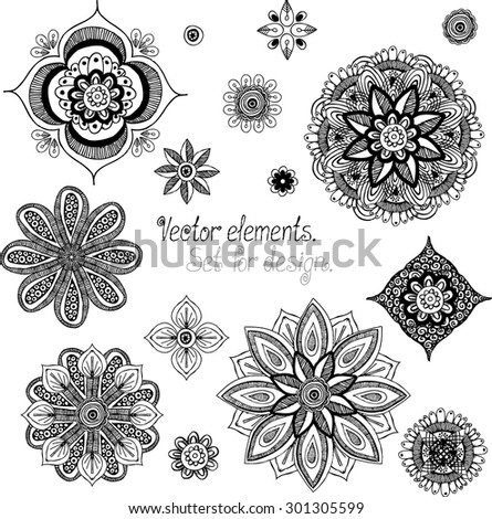 Doodle mandala. Elements for design. Vector artwork.