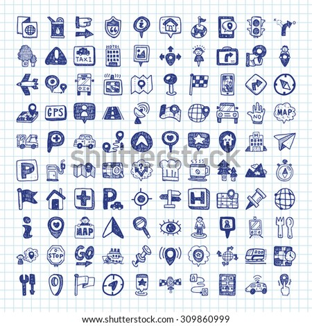 doodle map GPS Location icons - stock vector