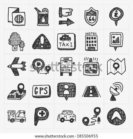 doodle map GPS Location icons set - stock vector