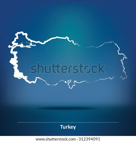 Doodle Map of Turkey - vector illustration - stock vector