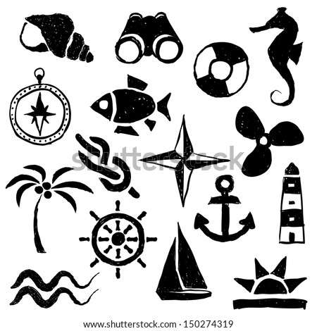 doodle marine images - stock vector