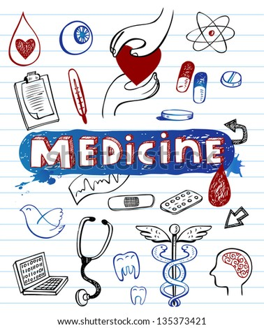Doodle Medicine icons, vector illustration - stock vector