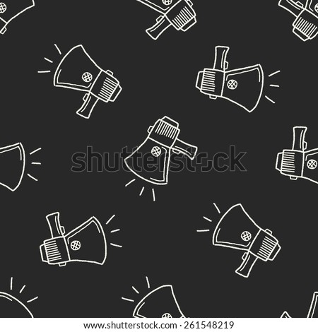 Doodle Megaphone seamless pattern background - stock vector