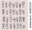 Doodle members of large families - stock photo