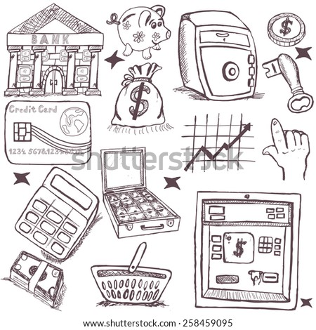 Doodle money icons.  - stock vector