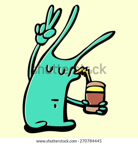 doodle monster, rabbit with coffee cup, colorful crazy character, isolated design element - stock vector