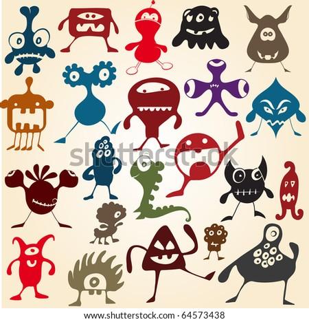 doodle monsters - stock vector