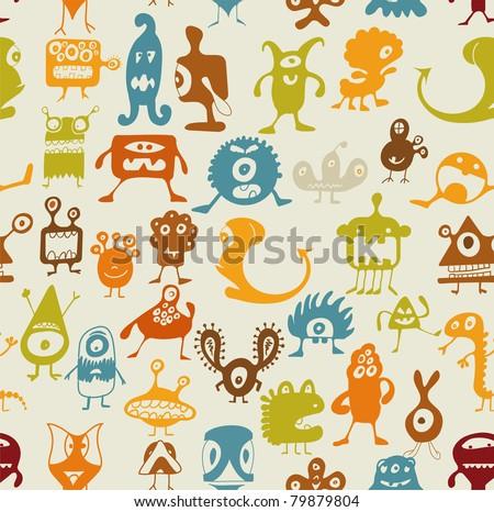 Doodle monsters set - stock vector