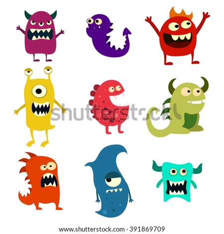 Doodle monsters set. Colorful toy cute alien monster for ui and app. Vector EPS 10
