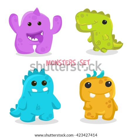 Colorful Toy Monsters Cute Alien Monster Icon