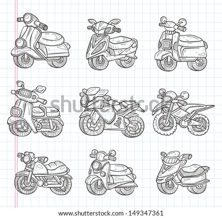 doodle motorcycle icons - stock vector