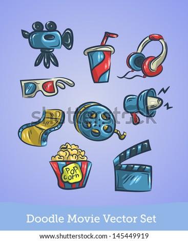 Doodle Movie Set - stock vector
