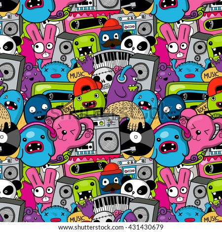 Doodle musick pattern with monsters