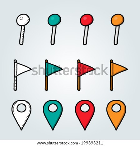 Doodle navigation pins collection - stock vector