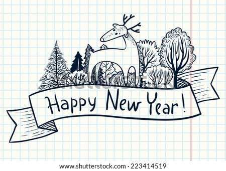 Doodle New Year ribbon banner with deer - stock vector