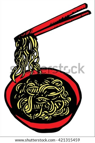 Doodle Noodle of bowl and stick,hand drawing - stock vector