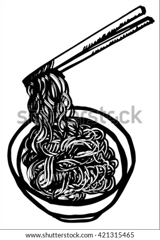 Doodle Noodle of bowl and stick, hand drawing - stock vector