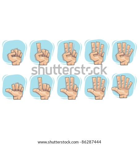 Doodle Number Hand Sign Icons collection sets