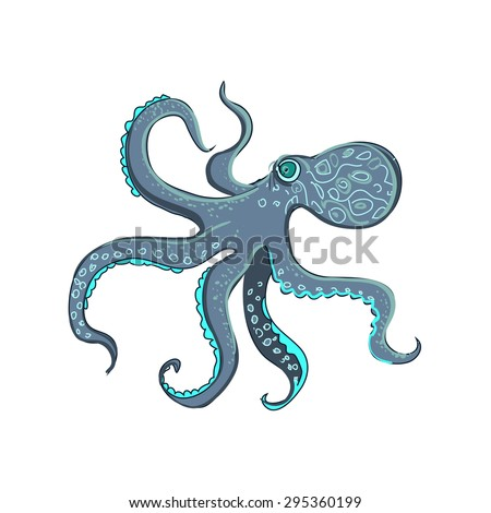 doodle octopus, isolated on the white background, excellent vector illustration, EPS 10 - stock vector