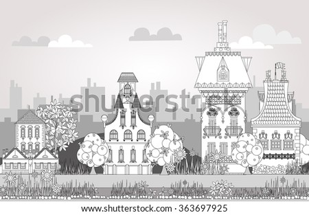 Doodle of beautiful city with very detailed and ornate town houses, trees and lanterns. City background - stock vector