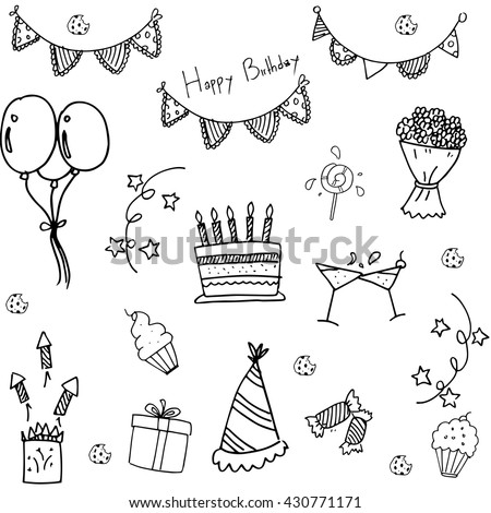 Doodle Of Birthday Party Hand Draw Vector Art