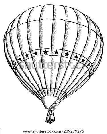 Doodle of Hot Air Balloon Vector Sketch Up line, EPS 10. - stock vector