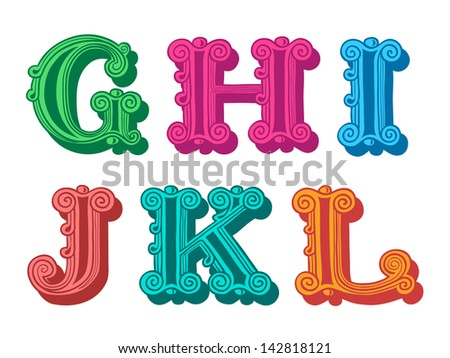 Doodle of retro Antiqua alphabet letters in caps, G, H, I, J, K, L - stock vector