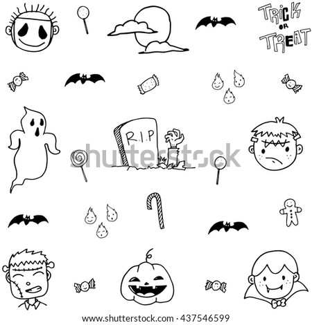 Doodle of scary face halloween on white backgrounds